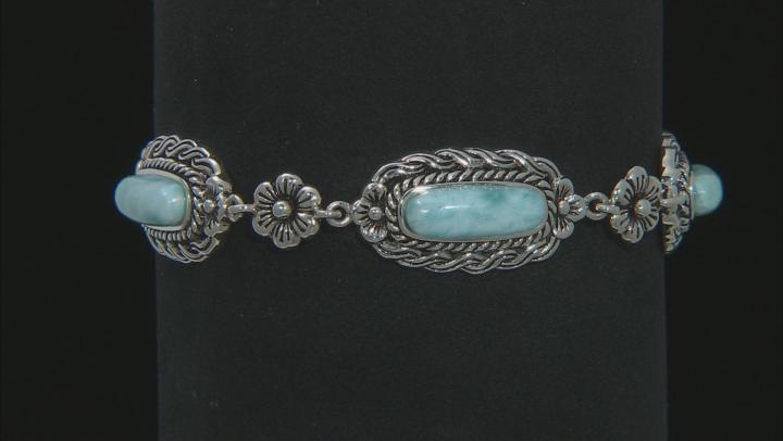Blue Larimar Sterling Silver Toggle Bracelet