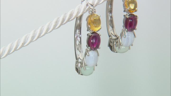 Multi-gemstone rhodium over silver hoop earrings