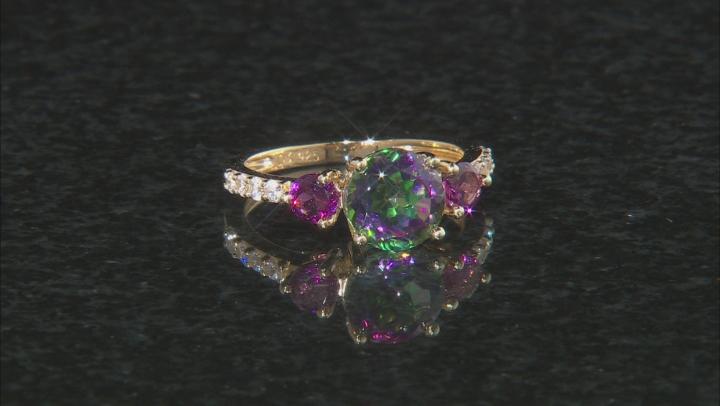 Green Mystic Fire(R) Topaz 18k gold over silver ring & enhancer 2-piece set 4.30ctw