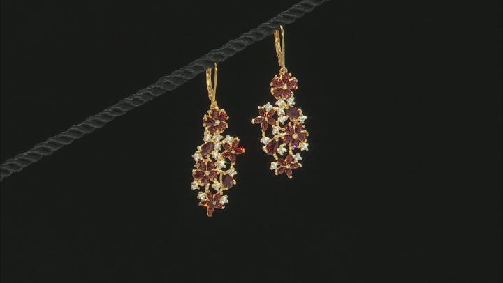 Red garnet 18k gold over silver earrings 7.19ctw