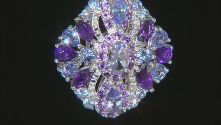 Blue tanzanite rhodium over silver pendant with chain 2.94ctw