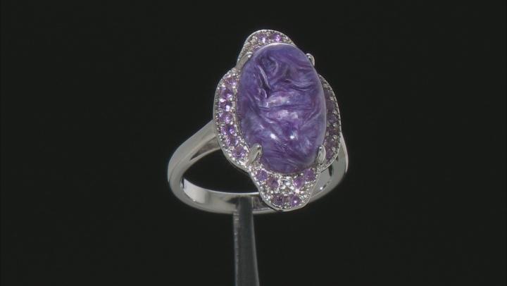 Purple charoite rhodium over silver ring .27ctw