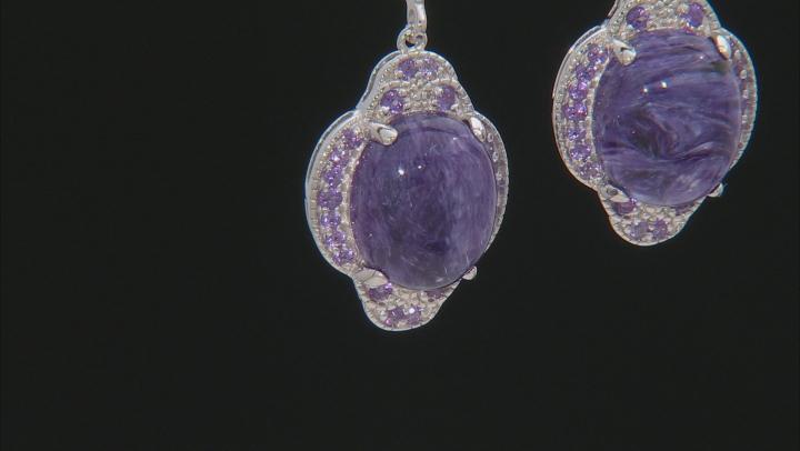 Purple charoite rhodium over silver earrings .40ctw