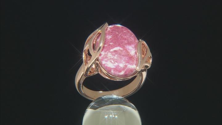 Red Norwegian thulite 18k rose gold over sterling silver ring