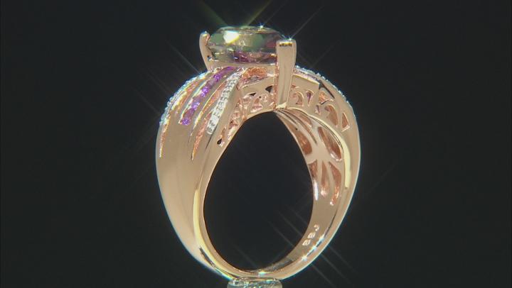 Multicolor Watermelon Quartz 18k Rose Gold Over Silver Ring 2.64ctw