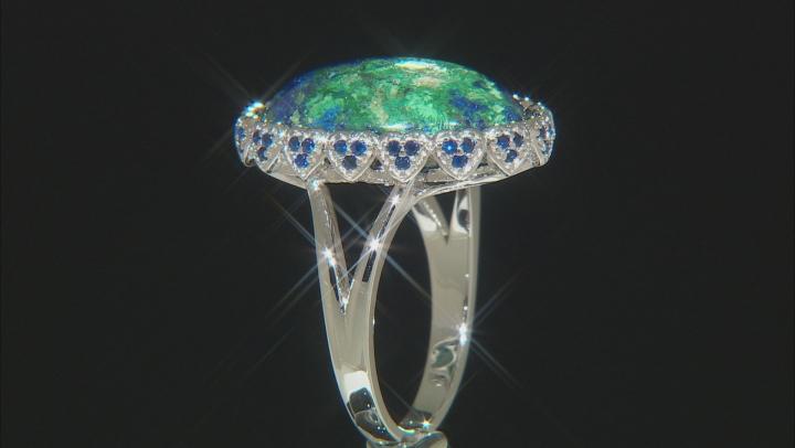 Blue azurmalachite rhodium over silver ring .82ctw