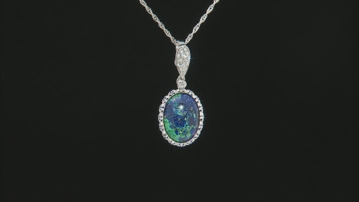 Blue azurmalachite rhodium over silver enhancer with chain .36ctw