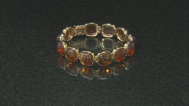 Orange Amber 18k Yellow Gold Over Sterling Silver Bracelet