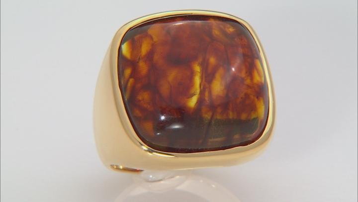 Orange Amber 18k Gold Over Silver ring