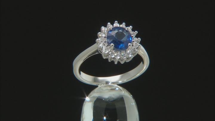 Blue kyanite rhodium over silver ring 1.72ctw