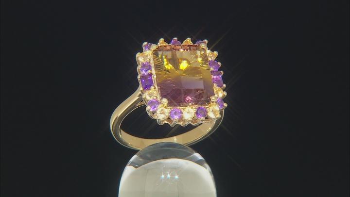 Bi-color ametrine 18k gold over silver ring 4.95ctw