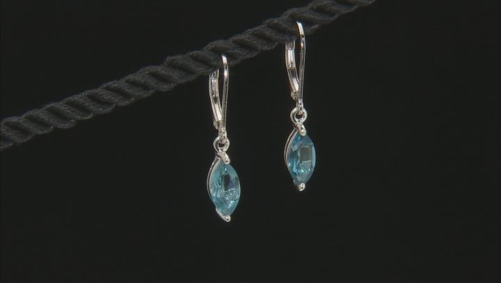 London blue topaz rhodium over silver earrings 2.20ctw
