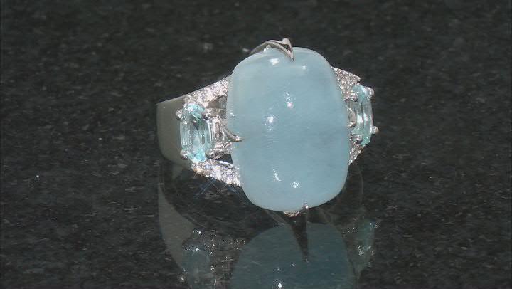 Blue Aquamarine Rhodium Over Sterling Silver Ring 1.11ctw