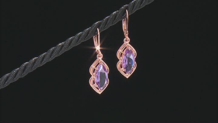 Purple Amethyst 18K Rose Gold Over Sterling Silver Dangle Earrings 4.17ctw
