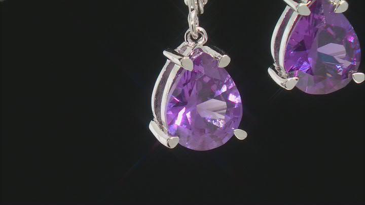 Lab Created Purple Color Change Sapphire Rhodium Over Silver 4.93ctw