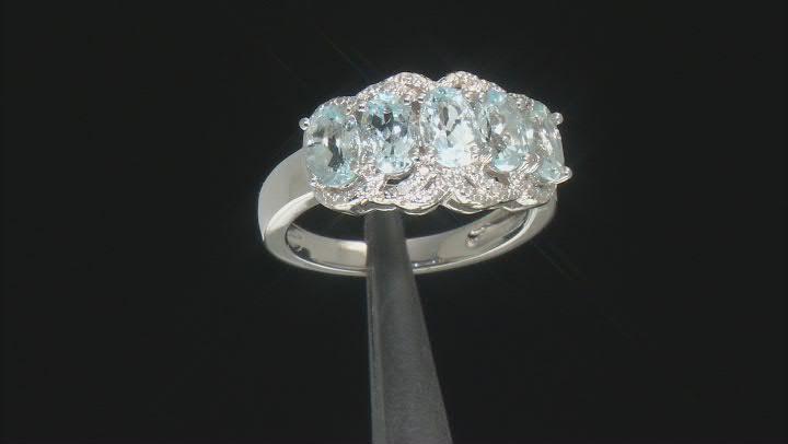 Blue Aquamarine Rhodium Over Sterling Silver Ring 1.71ctw