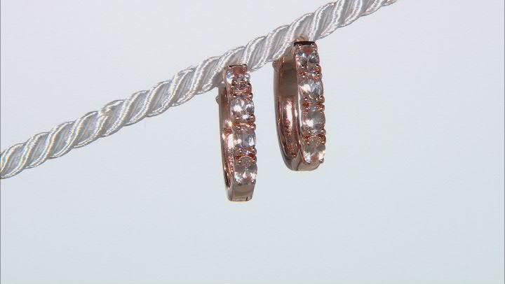 Peach Morganite 18k Rose Gold Over Sterling Silver Hoop Earrings 0.95ctw