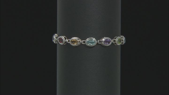 Multi-Color Gemstone Rhodium Over Silver Tennis Bracelet 10.25ctw.