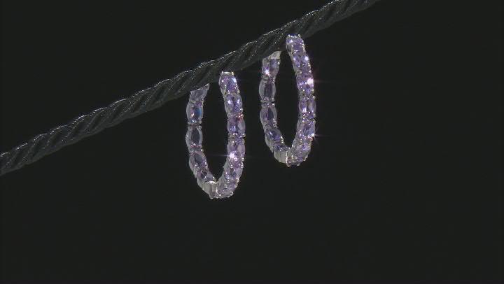 Purple Amethyst Rhodium Over Silver Inside/Outside Hoop Earrings 9.54ctw