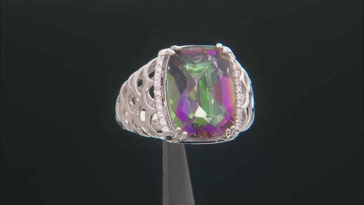 Multi-Color Quartz Rhodium Over Silver Ring 6.11ctw