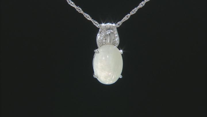 White Rainbow Moonstone Rhodium Over Silver Pendant With Chain .11ctw