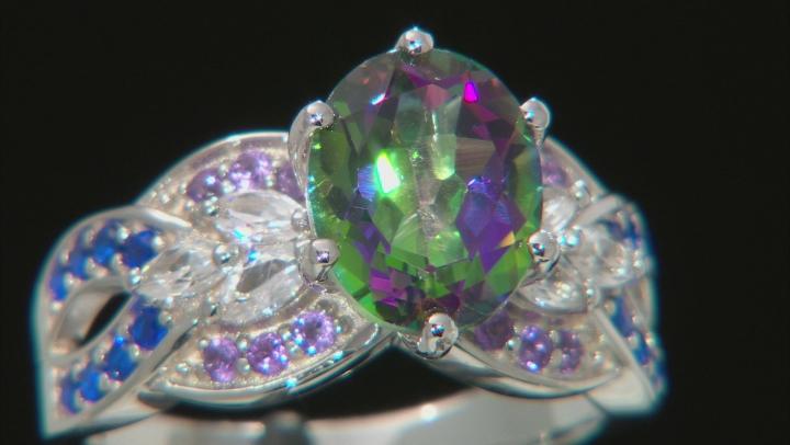 Green Mystic Fire(R) Topaz Rhodium Over Silver Ring 3.56ctw