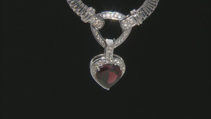 Red Garnet Rhodium Over Silver Necklace 3.71ctw