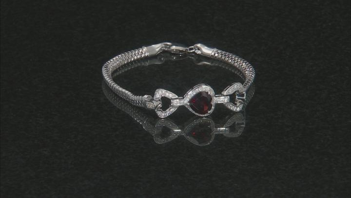 Red Garnet Rhodium Over Silver Bracelet 3.80ctw