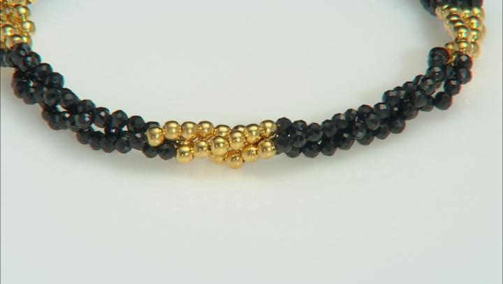Black Spinel 18k Gold Over Silver 3-Strand Bracelet