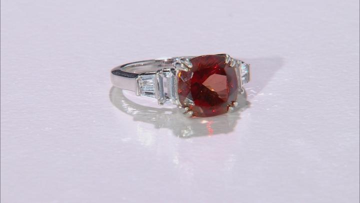 Red Labradorite Rhodium Over Silver Ring 3.80ctw