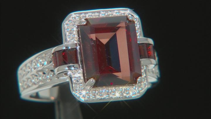 Red labradorite rhodium over silver ring 2.91ctw