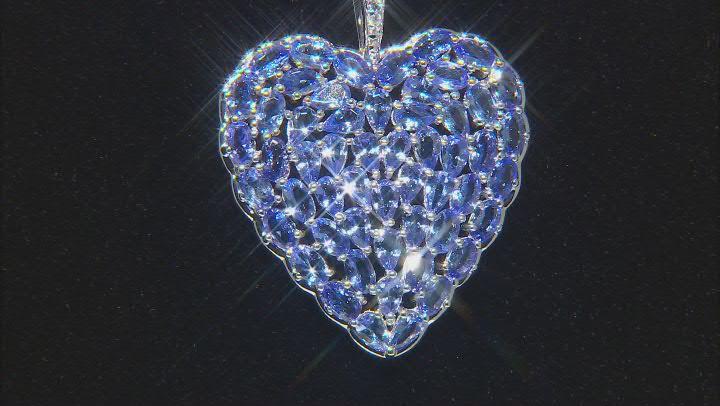 Blue tanzanite rhodium over silver heart pendant with chain 10.72ctw