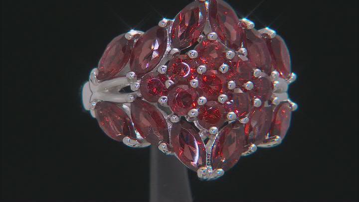 Red Garnet Rhodium Over Sterling Silver Ring 4.55ctw