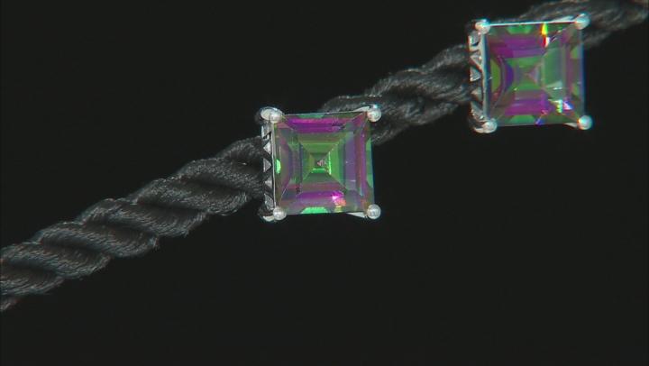 Green Mystic Fire® Topaz Rhodium Over Silver Earrings 5.10ctw