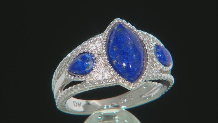 Blue Lapis Lazuli Rhodium Over Silver 3-Stone Ring .09ctw