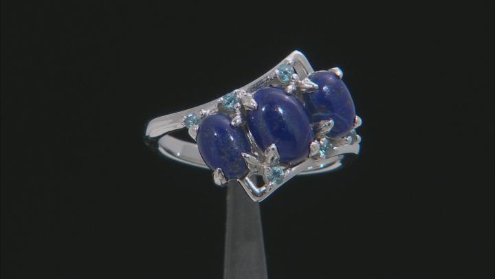 Blue Lapis Lazuli Rhodium Over Silver Ring .15ctw