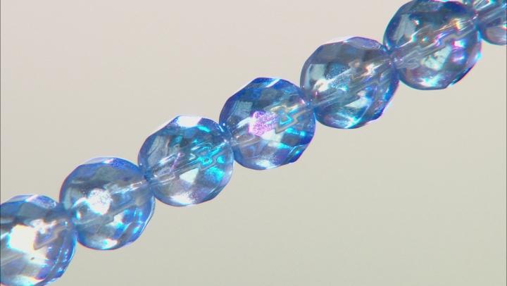 Blue Quartz Bead Strand, Rhodium Over Silver Bracelet