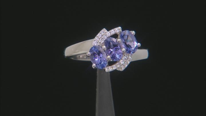 Blue Tanzanite Rhodium Over Silver Ring 1.16ctw