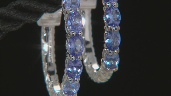 Blue tanzanite rhodium over sterling silver hoop earrings 1.45ctw