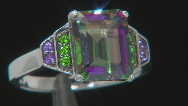 Mystic Fire(R) Green Topaz Rhodium Over Silver Ring 3.64ctw