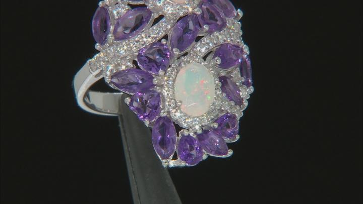 Multi-Color Ethiopian Opal Rhodium Over Silver Ring 5.14ctw