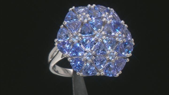 Blue Tanzanite Rhodium Over Silver Ring 5.34ctw