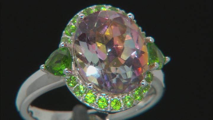 Northern Lights™ quartz rhodium over silver ring. 4.28ctw