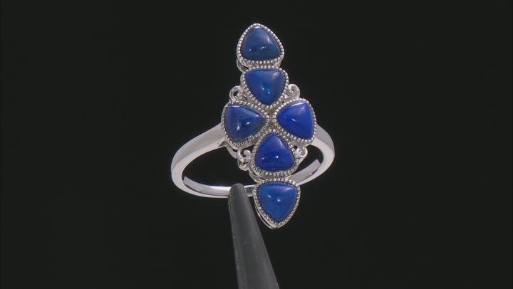 Blue Lapis Lazuli Rhodium Over Silver Ring