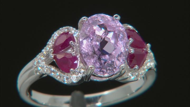 Pink Kunzite Rhodium Over Silver Ring 2.86ctw