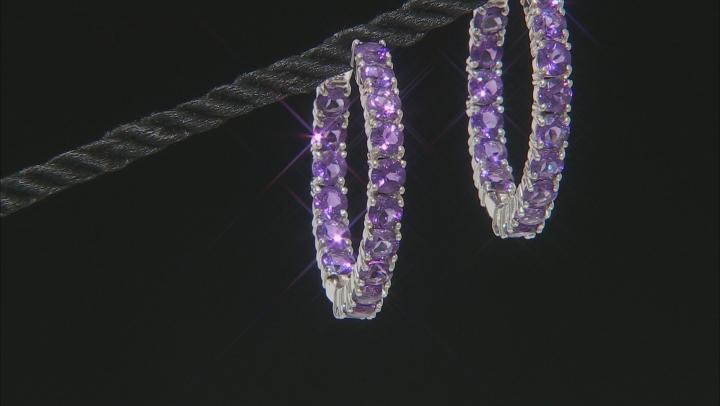 Purple Amethyst Rhodium Over Silver Earrings 7.23ctw
