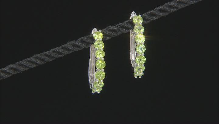 Green Peridot Rhodium Over Sterling Silver Hoop Earrings 3.80ctw