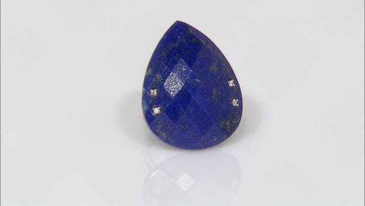 Blue Lapis Lazuli Sterling Silver Ring .13ctw