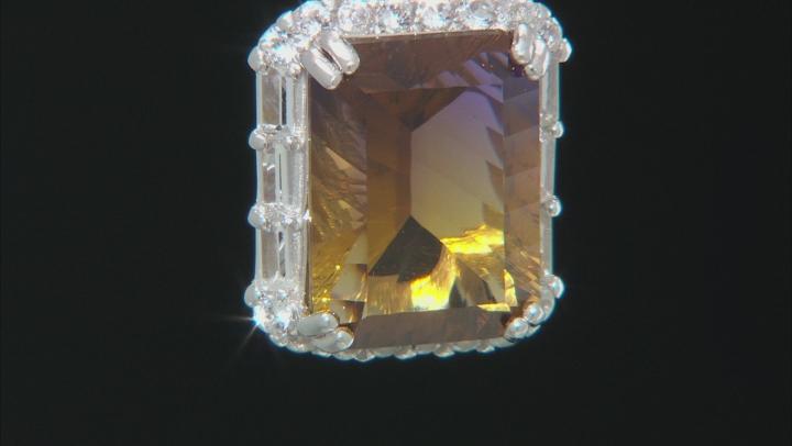 Bi-Color Lab Created Ametrine Silver Pendant With Chain 9.96ctw