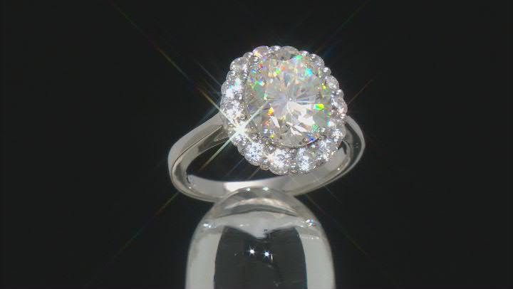 White Lab Created Strontium Titanate Rhodium Over Sterling Silver Ring 6.42ctw